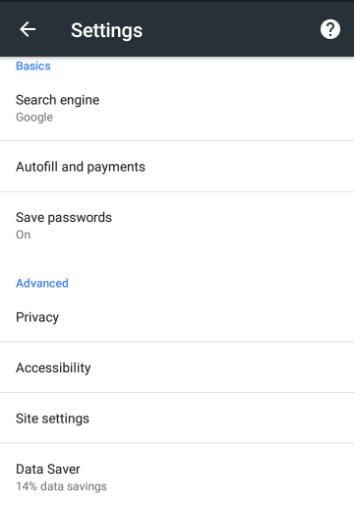 chrome data saver settings