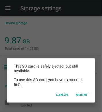 mount SD card again