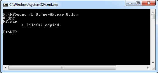Type the Command to hide file behind image