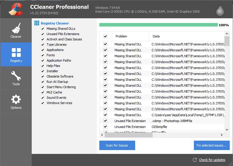 CCleaner As Registry Cleaner