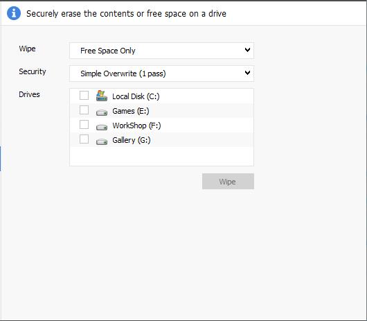 CCleaner Drive Wiper Tool