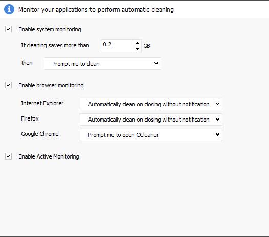 CCleaner Monitoring Settings