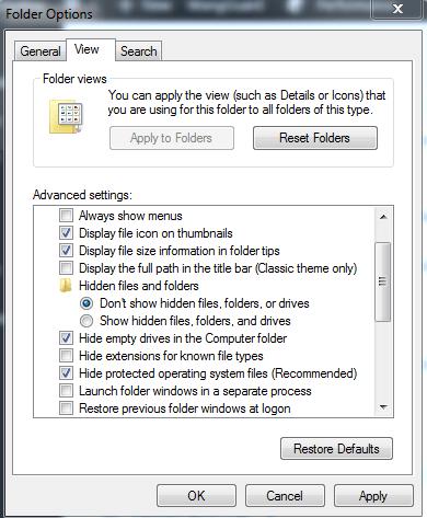 Folder Option Settings