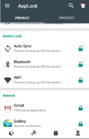 Lock Android Toggles