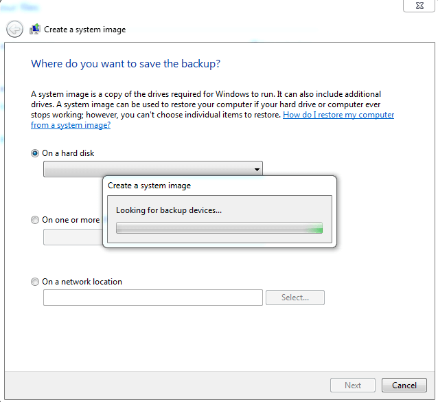 Windows 7 System Restore Image