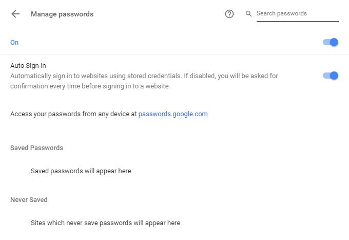 Chrome Settings To Save Password