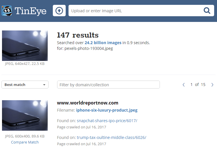 TinEye Reverse Image Search Results