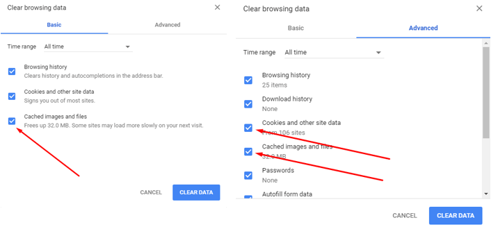 Clear Browser Cache in Google Chrome - Clear browsing data options