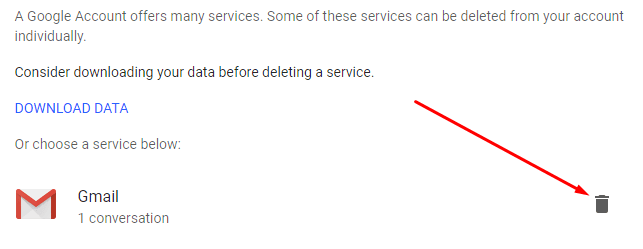 Choose Gmail to Delete