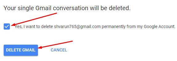 Click Delete Gmail