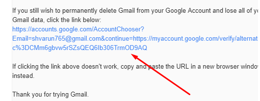 Delete Gmail Account - Click on the Verification link