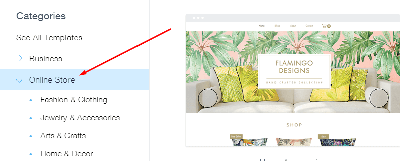 Select Template for Wix Stores