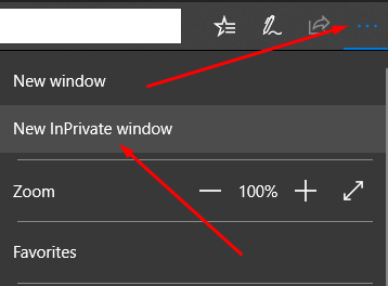 Microsoft Edge New InPrivate Window