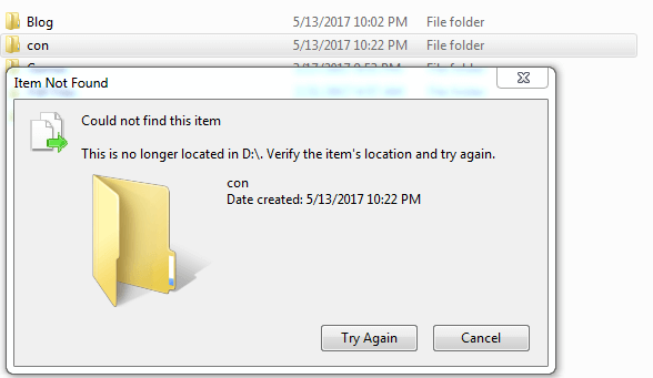 unable to delete & rename