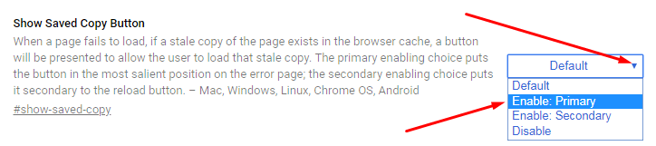 How to Enable Offline Browsing in Google Chrome - Enable Show Saved Copy Button