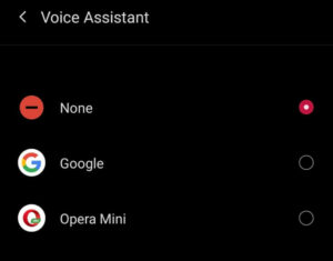 Disable Google Assistant on Android - Choose None option