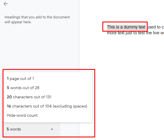 See Word Count While Typing for selected text