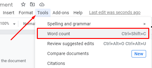 Count Words on Google Docs - Select Tools and Word Count