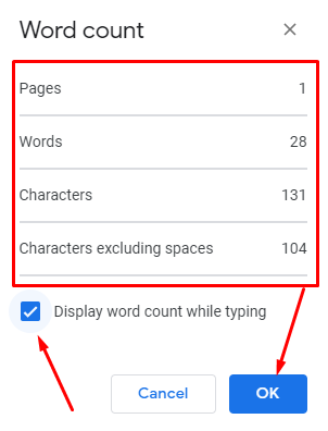 Count Words on Google Docs - see word count