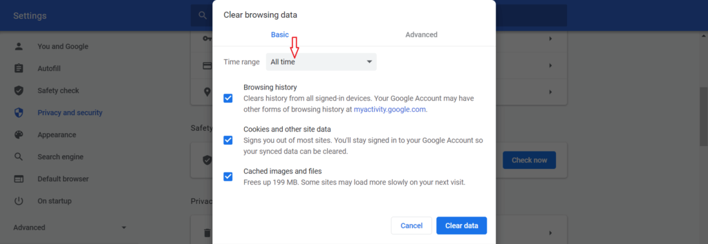 delete browsing history Chrome