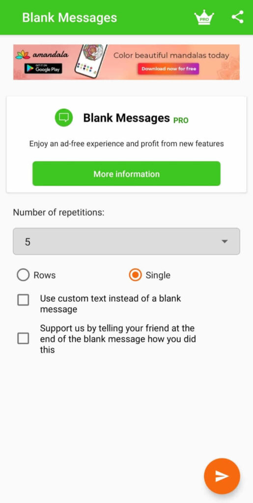 Blank Message app demo