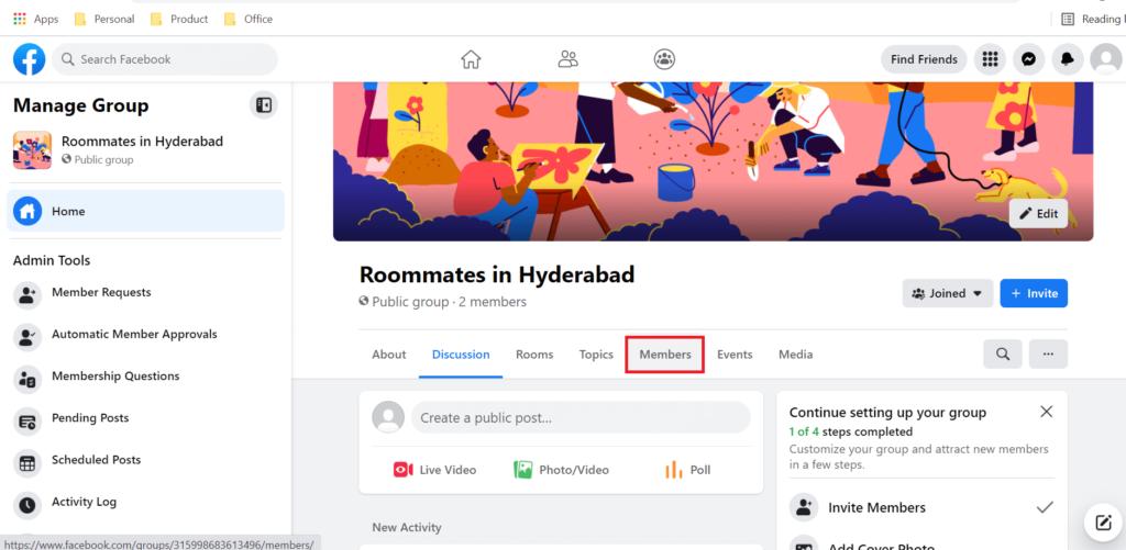 Members tab under group name Facebook
