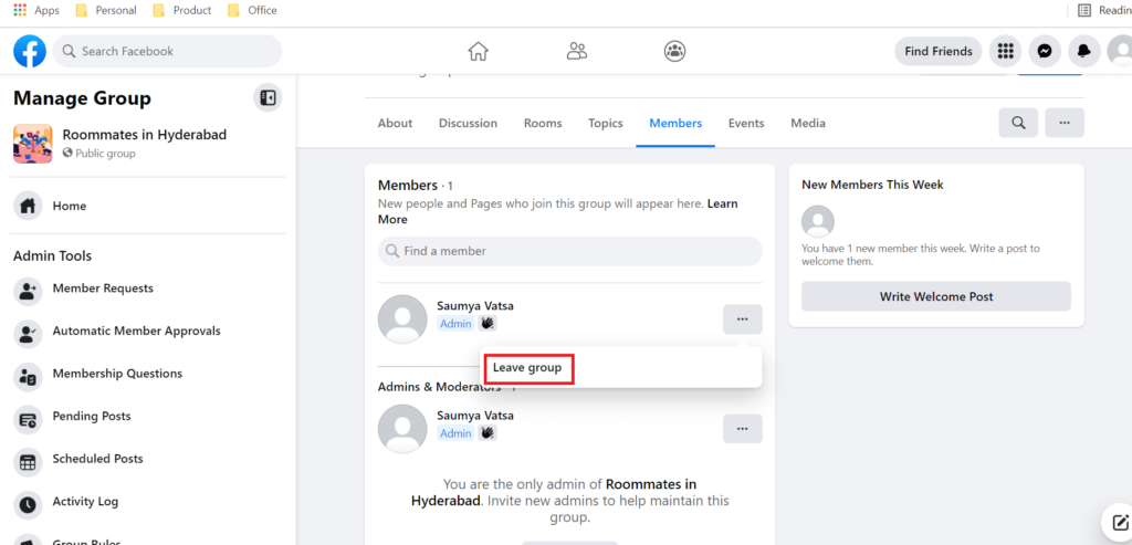 Leave group option for admin of Facebook group