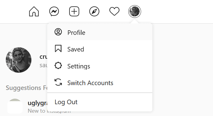 Profile option in menu Instagram