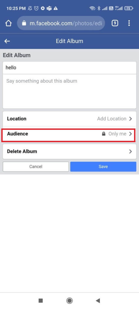 Audience selector option under photo Facebook