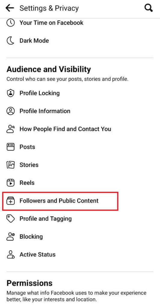 Followers and Public Content option Facebook