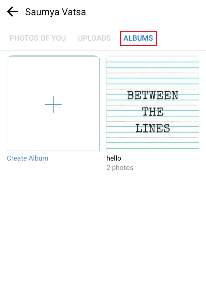 Albums tab on Facebook profile