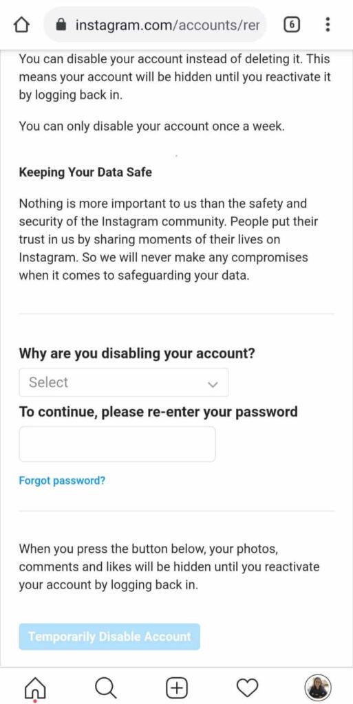Option to deactivate Instagram account