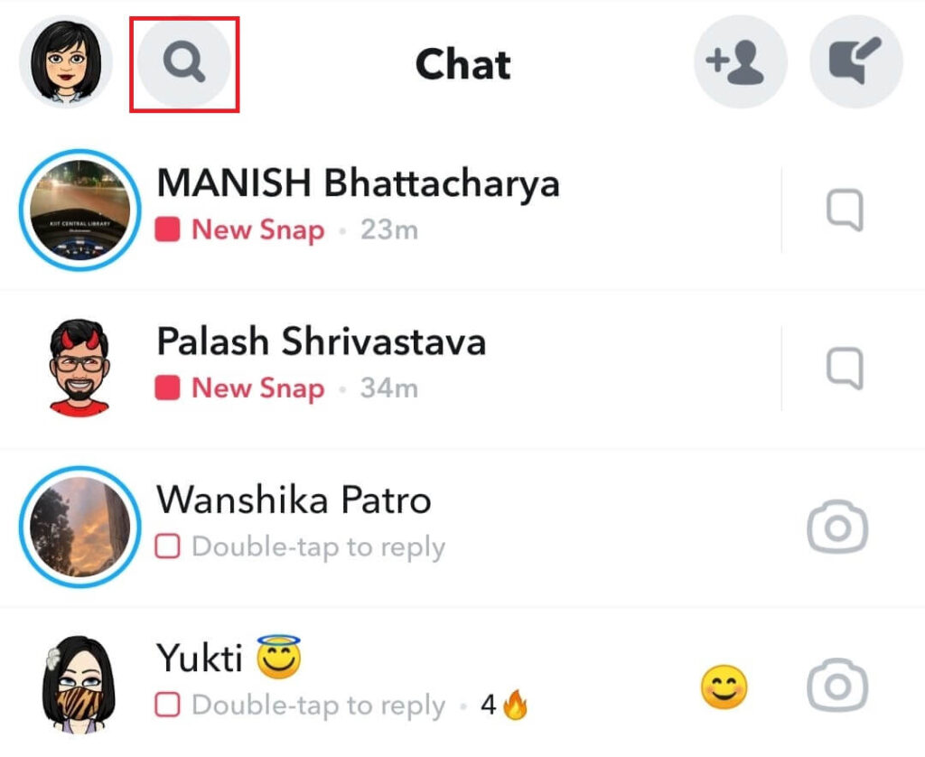 Chat icon on Snapchat