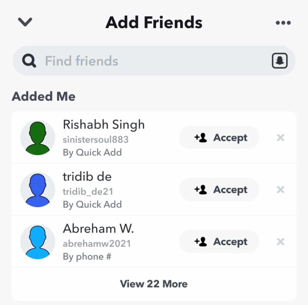 Find friends option on Snapchat