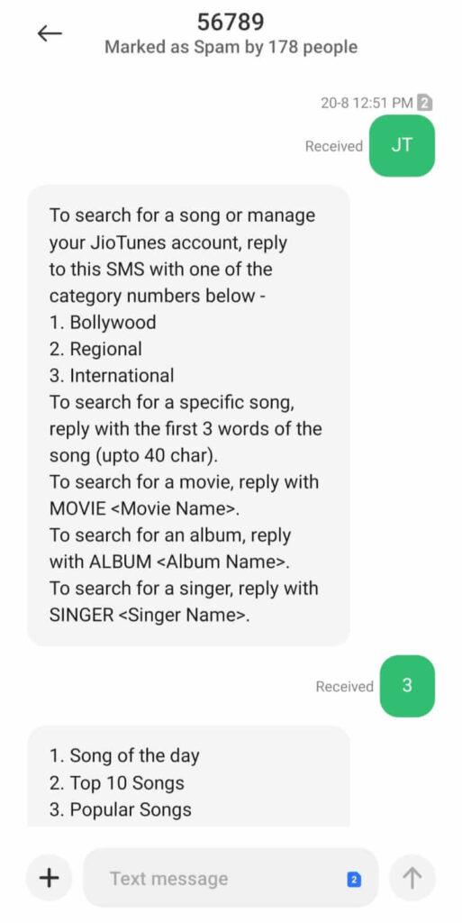 Setting Jio caller tune on Jio through SMS