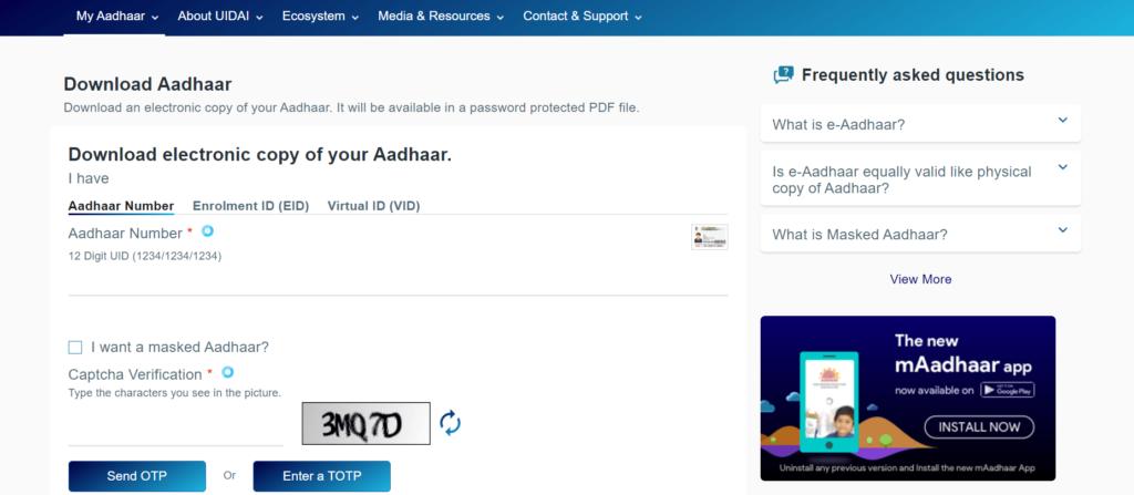 Download Aadhaar card by Aadhaar number
