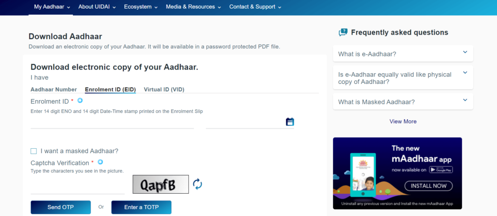 Download Aadhaar card by Enrolment ID