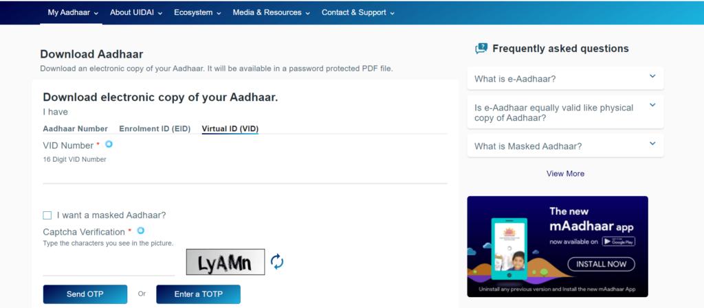 Download Aadhaar card by Virtual ID