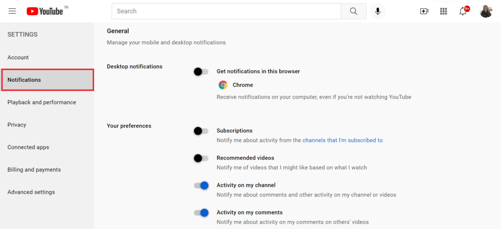 turn off youtube notifications on browser