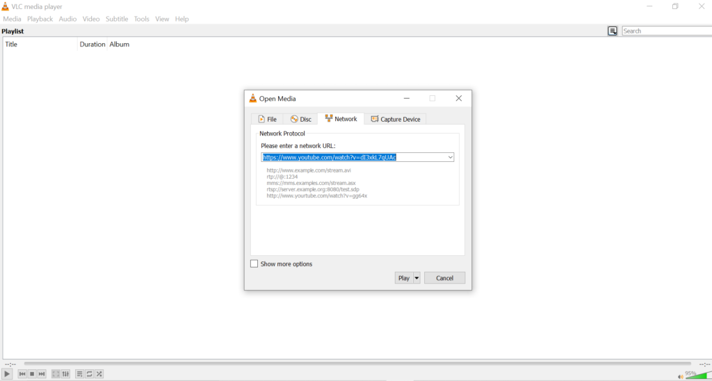 Paste URL in VLC Media Player