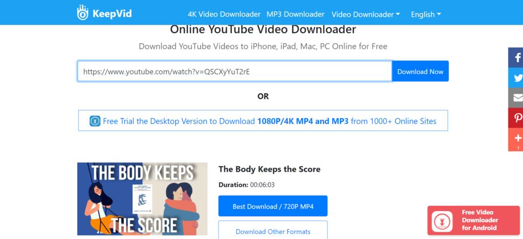 Paste URL of embedded video on keepvid.pro