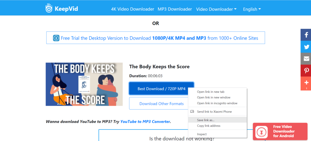 Download embedded video from keepvid.pro