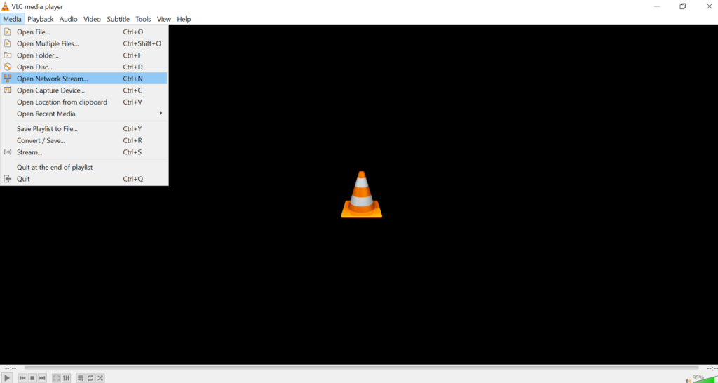 Open Network option in VLC Media Player