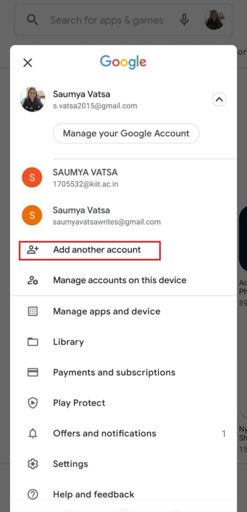 Add another account option for Google
