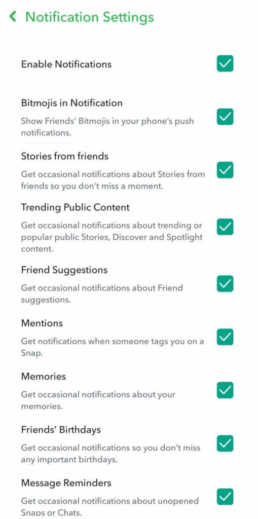 notifications option