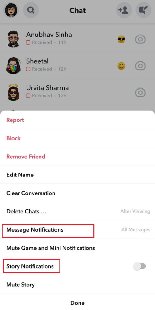 Message and Story notifications off for friend