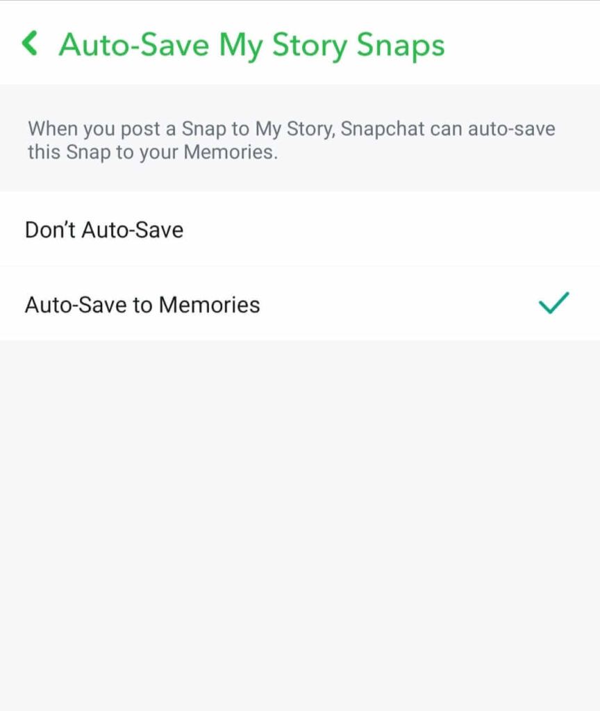 Auto Save Story to Memories option on Snapchat