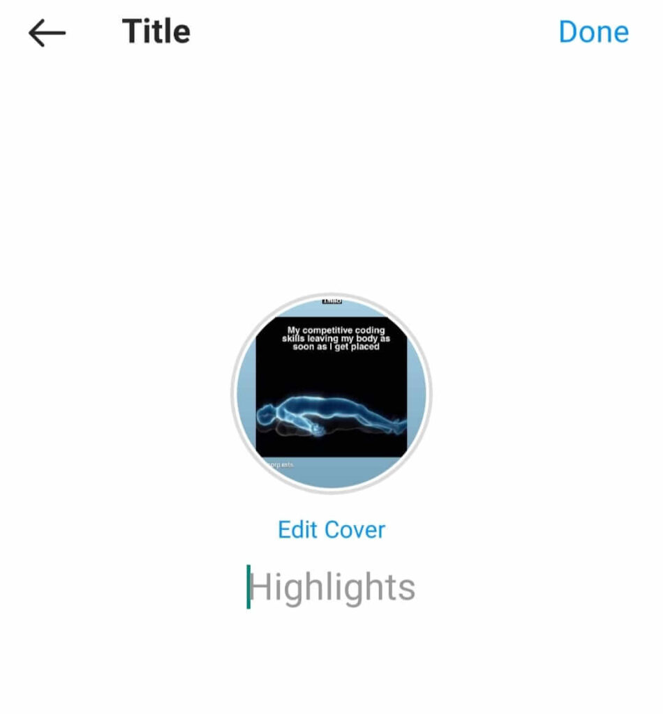 Edit name and cover of Instagram story highlights