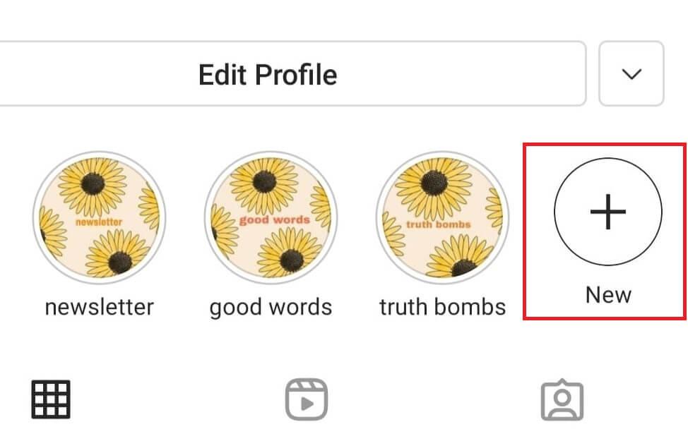 New Highlights option on Instagram