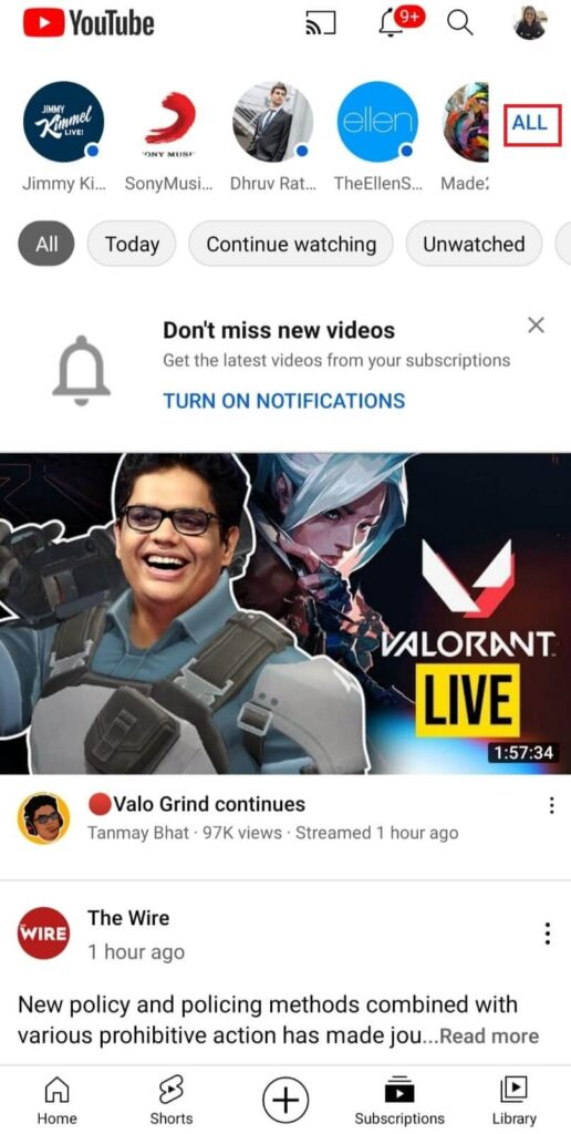 Go to channels on youtube
